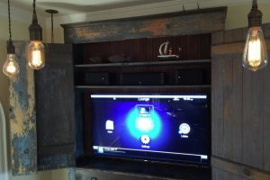 Converted Milk Cabinet Control4 Farmhouse Living Room Dallas